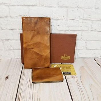 Vintage Tan Brown Leather Justin Wallet Gift Set Buggywhip Cowhide