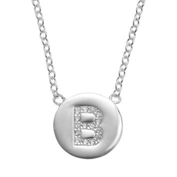 Cubic Zirconia Silver-Plated Initial Disc Necklace (White)