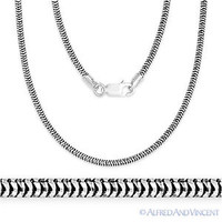 925 Sterling Silver 1.9mm Snake Link Chain Italian Italy Necklace Black Rhodium