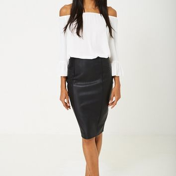 BIK BOK Faux Leather Pencil Skirt in
