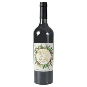 Holiday Wishes Merry and Bright Christmas Greeting Wine Label