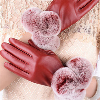 Hot Winter Women Fashion Short Leather Gloves With Rabbit Fur Soft Leather Mitten Gloves Female Warm Driving Wrist Gloves