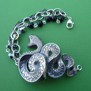 silver serpent beaded and chain cuff bracelet snake