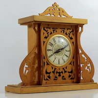 Vintage wood carved electric Lanshire table clock, vintage mantle clock, vintage clock, intricate wooden clock