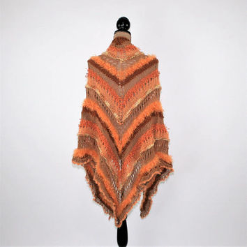 Apricot Peach Handmade Hand Knitted Shawl Wrap Triangle Shawl Boho Hippie Shawl Bohemian Festival Clothing Womens Knit Accessories