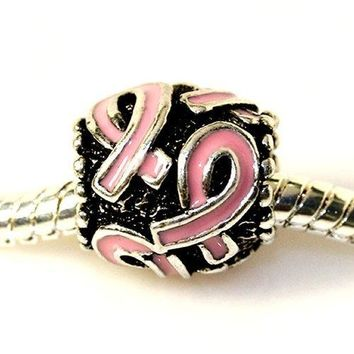 Breast Cancer Awareness Ribbon Survivor Charm Whitegreenbluepurplepink and Red Charm for Bracelet to choose
