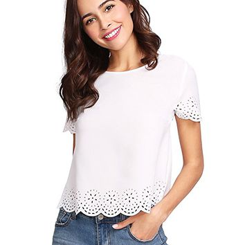 Women's Casual Round Neck Summer Short Sleeve Scallop T-Shirt Top Blouse