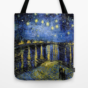 Vincent Van Gogh Starry Night Tote Bag by PureVintageLove