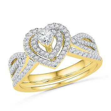 10kt Yellow Gold Womens Diamond Heart Bridal Wedding Engagement Ring Band Set 5/8 Cttw