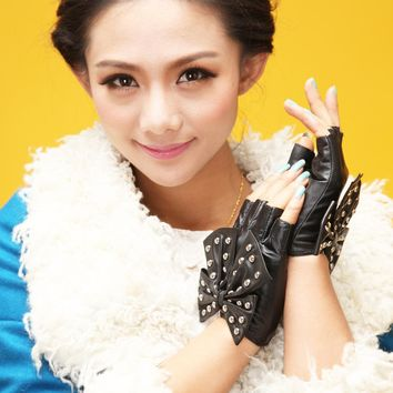 Ladies leather fashion fingerless gloves kid leather driving Gloves rivet  punk  gloves