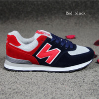 """""""New balance""""Running shoes leisure shoes gump sneakers lovers shoes n words Red black"""