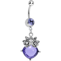 Purple Gem Luminous Orb Victorian Roses Dangle Belly Ring