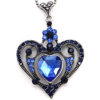 Royal Navy Blue Heart Flower Pendant Necklace Charm Antique Silver Brass Style Crystal Rhinestones Ladies Women Fashion Jewelry:Amazon:Jewelry