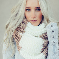 Chunky Knitted Block Scarf in Ivory + Caramel