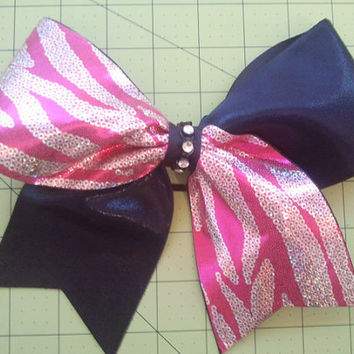 "3"" Texas Size Cheer Bow. Pink Zebra and Navy Blue or Solid Color of your Choice!"