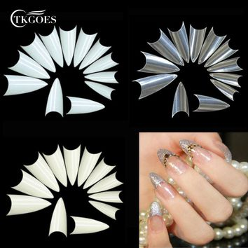 1bag/ 500pcs Stiletto Point Shape Fake Nails Natural White Clear Acrylic French False Nails UV Gel DIY Salon Point Nail Art Tips