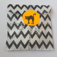 Black Chevron Bags Twine and Black Cat Stickers Set 5x7 Halloween Treat Bag  - Set of 10