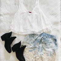 Joni Lace V Neck Tank