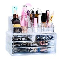 MJartoria Acrylic Jewelry and Cosmetic Storage Display Boxes Two Pieces Set