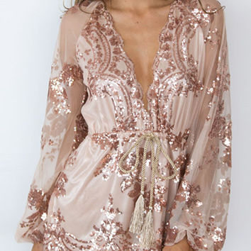 Deep V Neck Mesh Sequin Romper With Belt