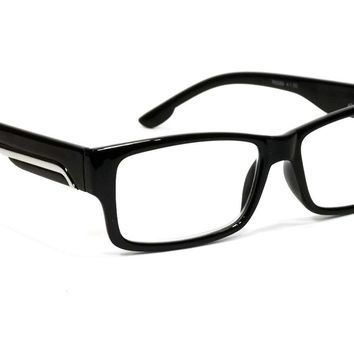 SUPER RETRO READING GLASSES BLACK FRAME SILVER ACCENT READER