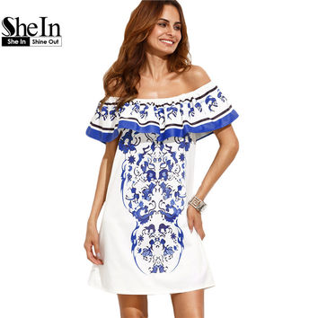 SheIn Summer Beach Dresses For Woman New Style Boho Ladies Multicolor Print Ruffle Off The Shoulder Shift Dress