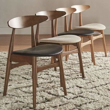 Modern Norwegian Danish Tapered Dining Chairs (Set of 2)
