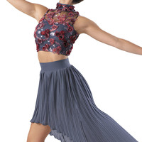 Weissman™ | Rosette Top and Pleated Skirt