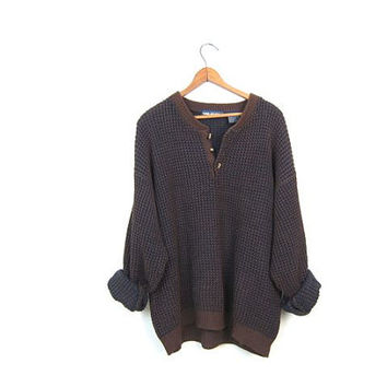 90s Oversized Brown Blue Boyfriend Sweater Loose Knit Waffle Knit Pullover Chunky Knit Sweater Basic Henley Slouchy Sweater Mens Large