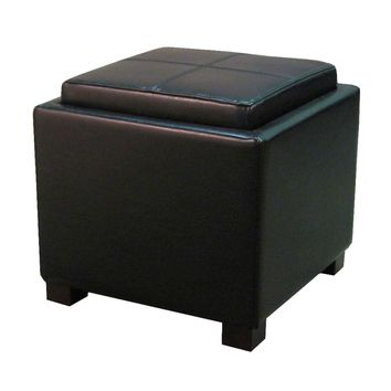 Venzia Bonded Leather Square Ottoman, Black
