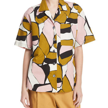 Marc Jacobs Oversized Abstract-Print Camp Shirt, Pink Pattern and Matching Items