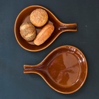 Mid Century Teardrop Shape Plates, Serving Tray or Oven Skillet, Warm Brown Glaze USA (Set of 2)