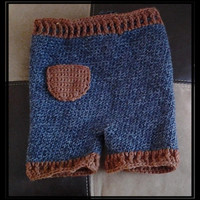 Crochet Wool Shorties - Shorts - Blue Jeans - Cloth Diapering