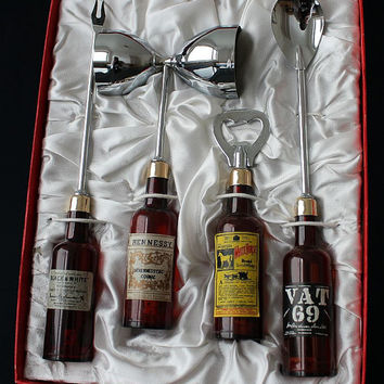 Funny vintage Bar tool set Bar set 60s Mid century / Cocktail set Barware Cocktail spoon Bottle opener Jigger and Fork Bar cart accessories