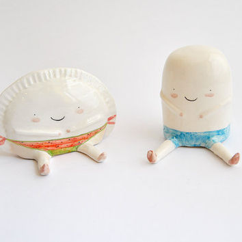 Set of Two Figures of Croqueta and Empanadilla, Summer Special by Ana Oncina. Cake Toppers. Wedding Gift. Made To Order