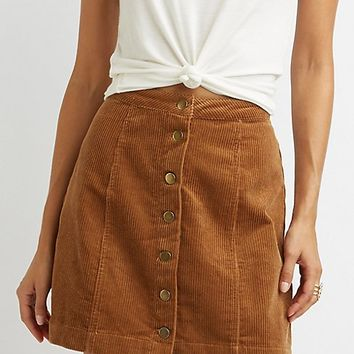 Corduroy Button-Up Skirt | Charlotte Russe