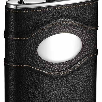 Visol Sojourn Premium Black Leather Hip Flask - 6 oz