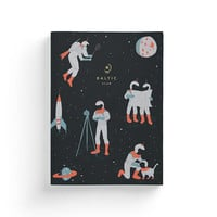 "Notebook with Retrospace Astronauts design – Lay-Flat binding – 5,75"" x 8"" – Ruled Pages"