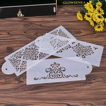 3Pcs Cake Decorating Stencil Template Mold Biscuit Bakery Tool Fondant Mould Crown King Queen Baking Gadgets Powder Sieve Spray