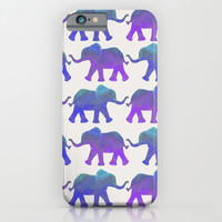 Follow The Leader - Painted Elephants in Royal Blue, Purple, & Mint iPhone & iPod Case by Tangerine-Tane
