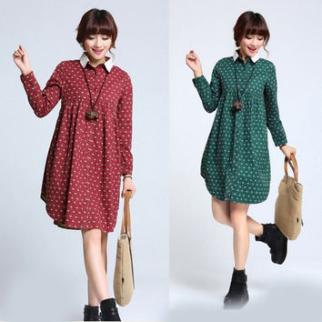 Pregnant Women Maternity Winter Warm Casual Oversized Long Cotton Dress = 1946840836