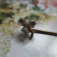 Antique Moonstone Diamond 10K Stick Pin