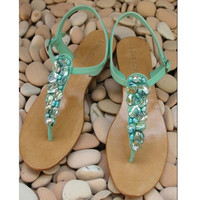 Ailana Turquoise Leather Sandals