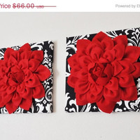 "MOTHERS DAY SALE Wall Hanging Set - Red Dahlia Flowers On Black And White Damask Print 12 x 12 "" Canvas Wall Art - Baby Nursery Wall Decor -"