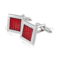 New Square Red Enamel Cuff Links