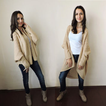 FREE SHIPPING Knit cardigan Plus size sweater Loose cardigan Light beige Multi size Lase stitch Two ways wear Long sweater Short overcoat