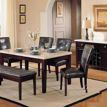 Acme 17058 6 pc britney white marble top dining table set with bench