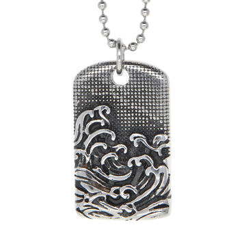"Dear Deer Stainless Steel Japanese Style Wavy ""The Great Wave off Kanagawa"" Medallion Pendant Necklace"