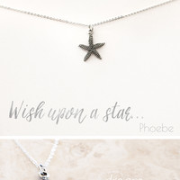 """Wish Upon a Star"" Delicate Starfish Silver Plated Necklace"