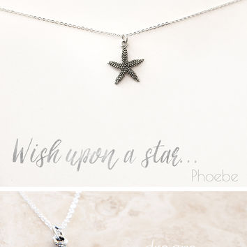 """Wish Upon a Star"" Personalized Delicate Starfish Necklace"